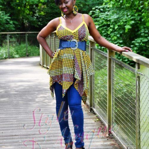 top à bretelles wax africain femme été