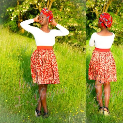 jupe évasée vêtement femme wax africain tissu ankara