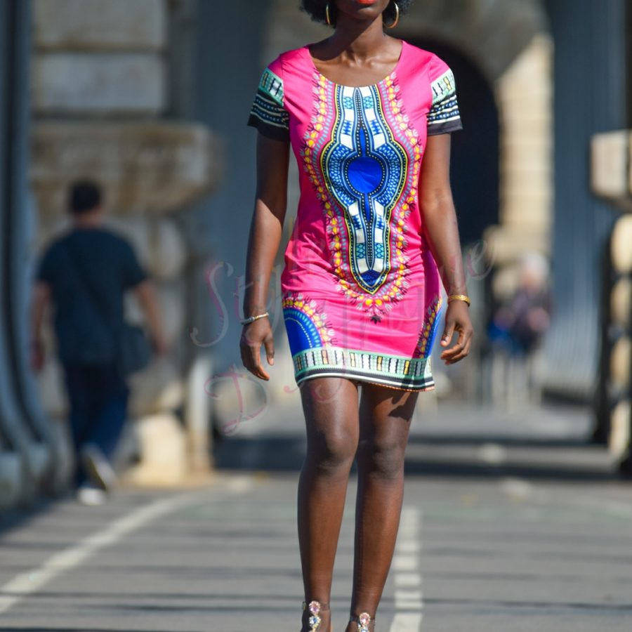 robe droite DASHIKI extensible africain
