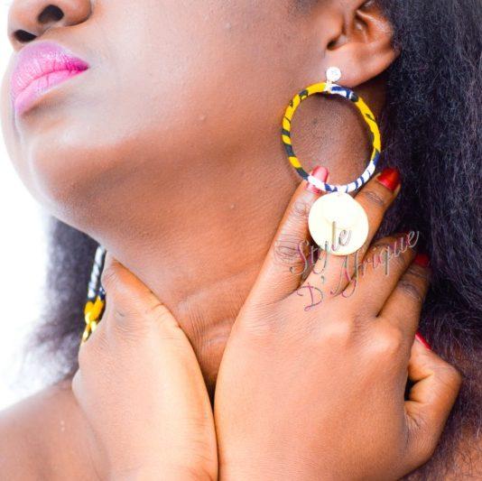 boucles d'oreilles créoles en wax africain