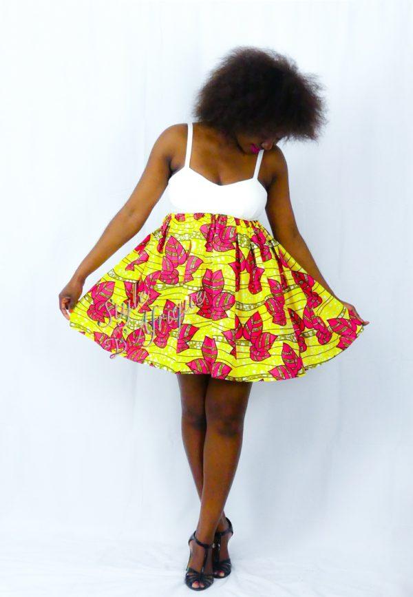 jupe patineuse évasée wax africain femme. jupe patineuse wax africaine ethnique jupe midi africaine wax pagne pour femme fleuri été