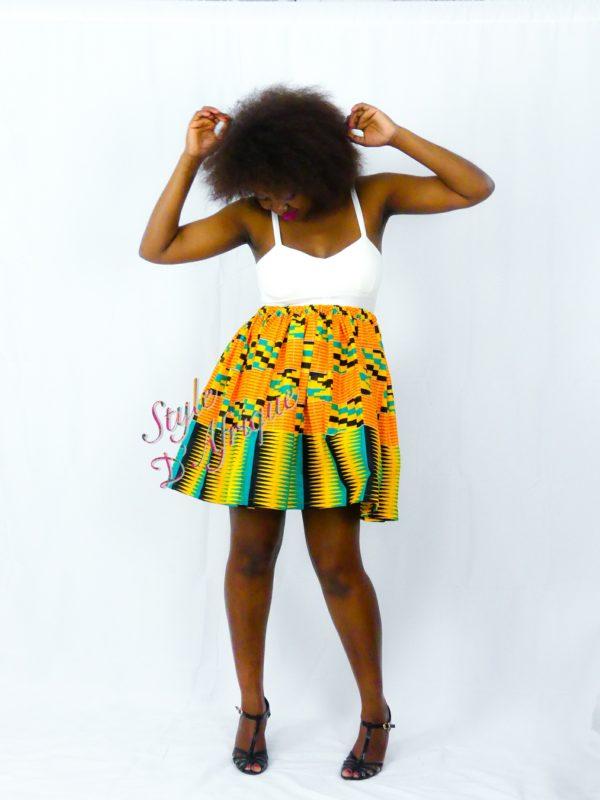 jupe évasée vêtement femme kente africain tissu ankara