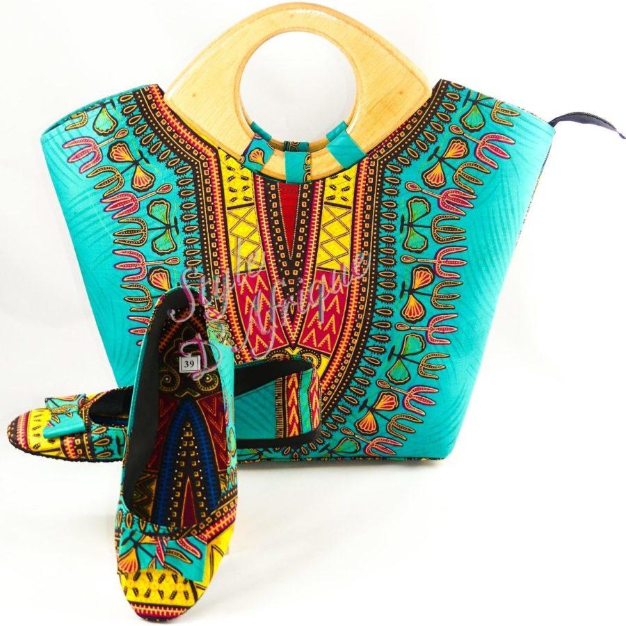 sac et ballerine DASHIKI africain
