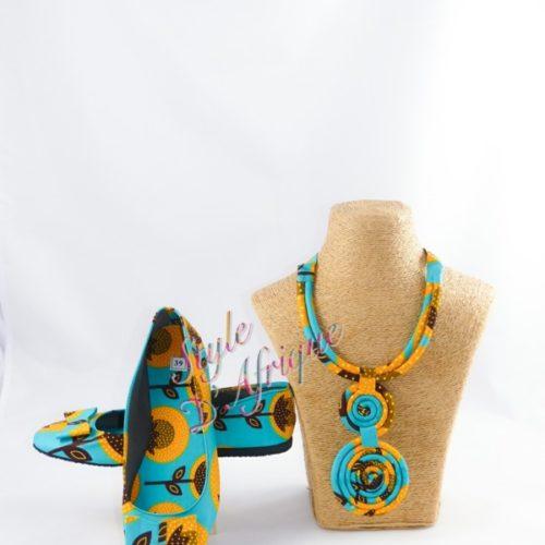 ensemble wax ballerine et bijoux africain ankara