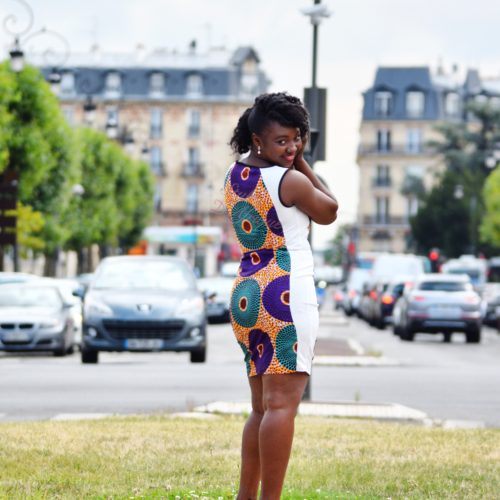 robe droite extensible et WAX africain juste au corps