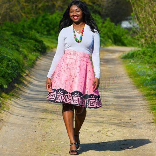 jupe patineuse wax africaine ethnique jupe midi africaine wax pagne pour femme fleuri été