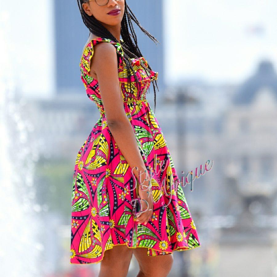 robe vêtement femme wax africain tissu ankara tour eiffel
