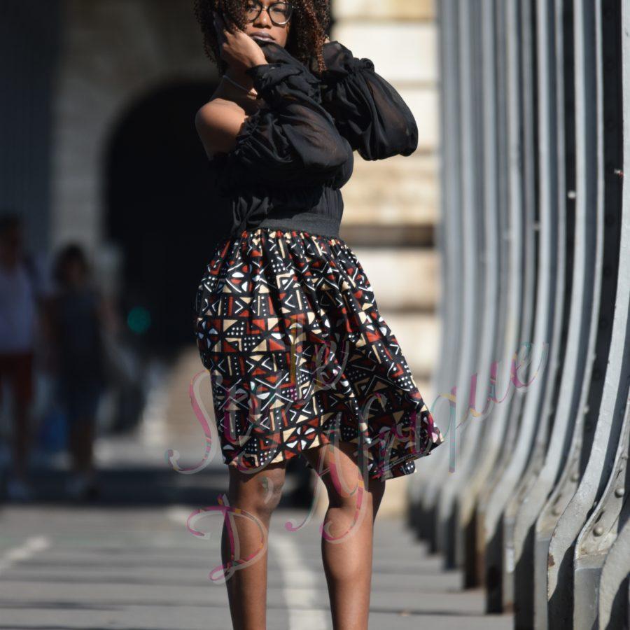 robe vêtement femme bogolan africain tissu ankara tour eiffel