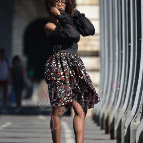 jupe bogolan africain femme été, jupe courte, jupe droite, jupe extensible wax