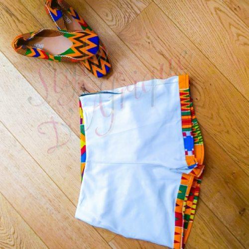short Kente mode africaine en pagne ethnique d'été