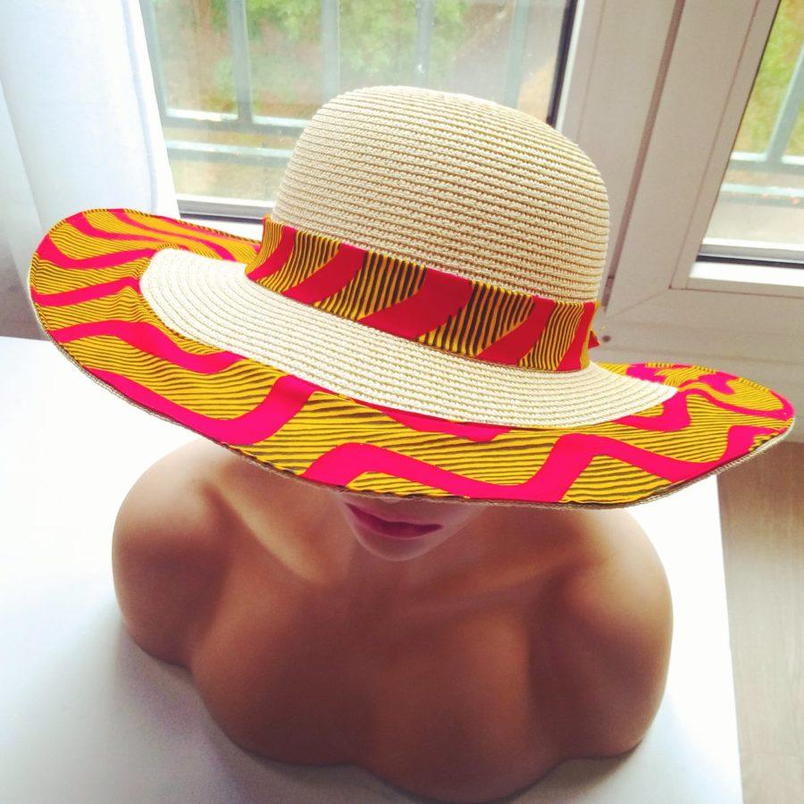 capeline chapeau paille wax africain ethnique