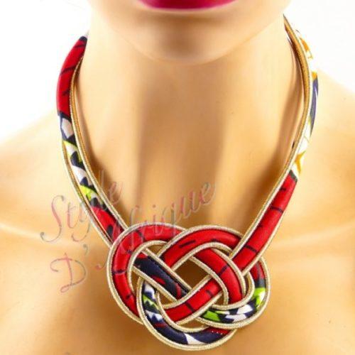 collier enroulé africain wax rouge ethnique bohème