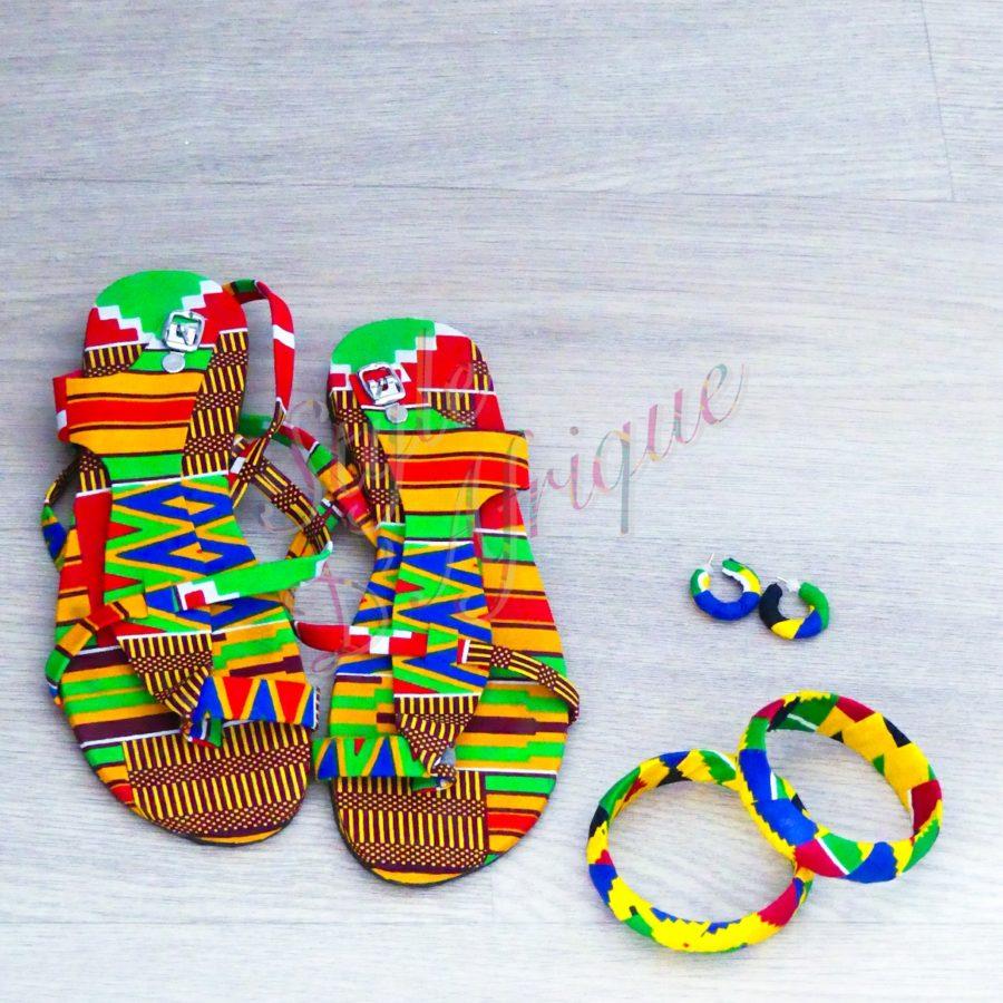 ensemble sandales wax et bijoux ankara africain ethnique
