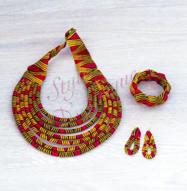 ensemble wax bijoux ankara africain ethnique