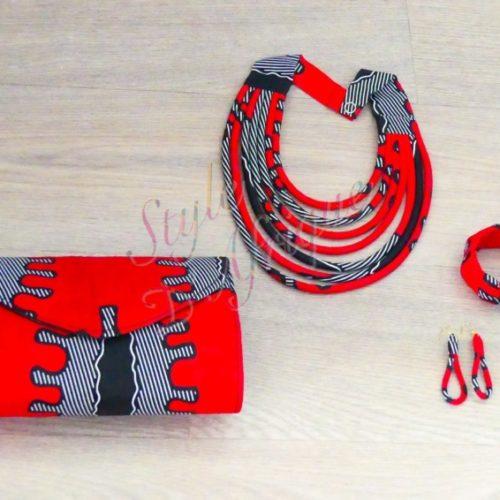 ensemble sac à main pochette wax et bijoux ankara africain ethnique
