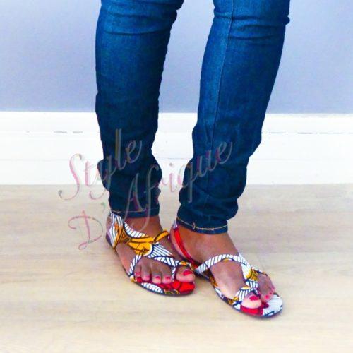 sandales wax ankara africain ethnique fleurs de mariage