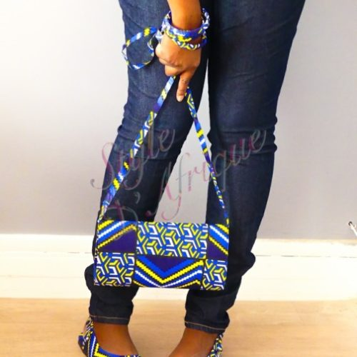 ensemble sac à main pochette wax et sandales ankara africain ethnique