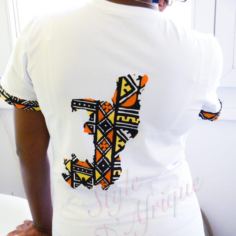 T-shirt carte congo motifs wax africain homme femme