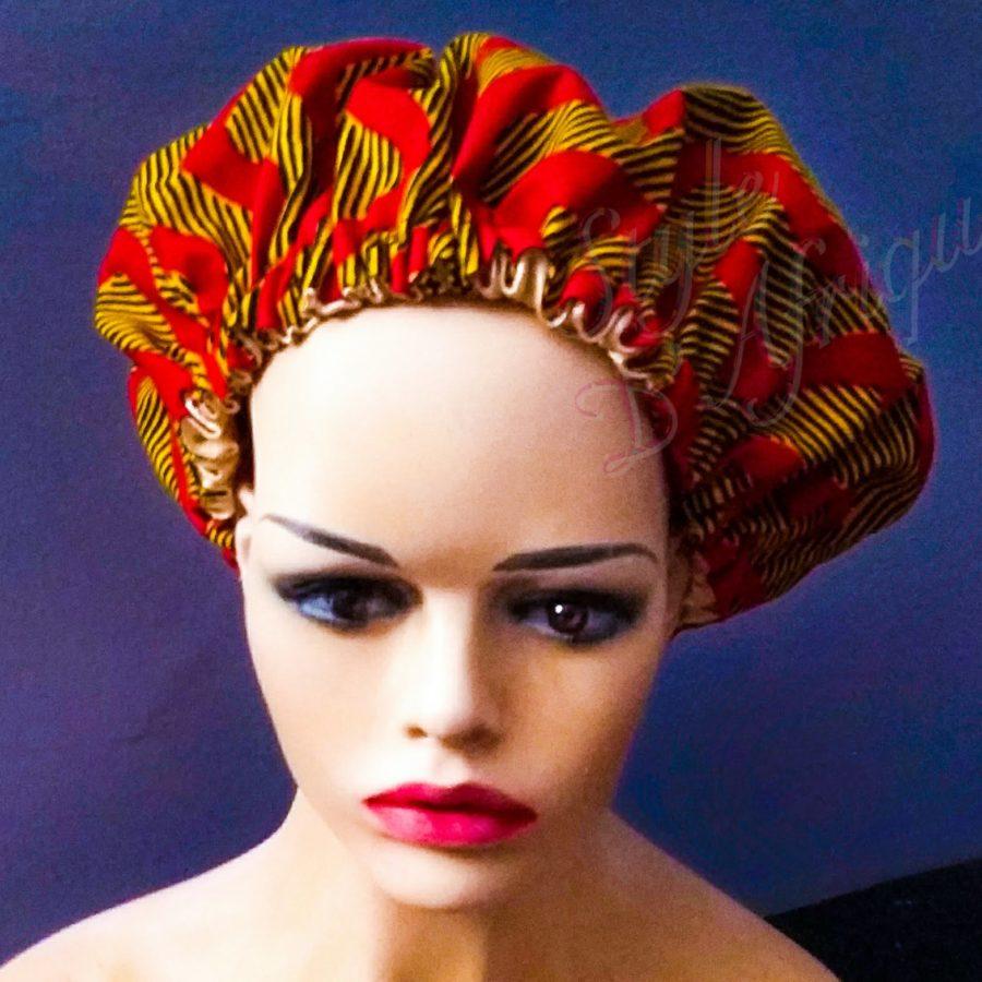 bonnet satin nuit cape de bain chapeau douche cheveux WAX africain ethnique femme
