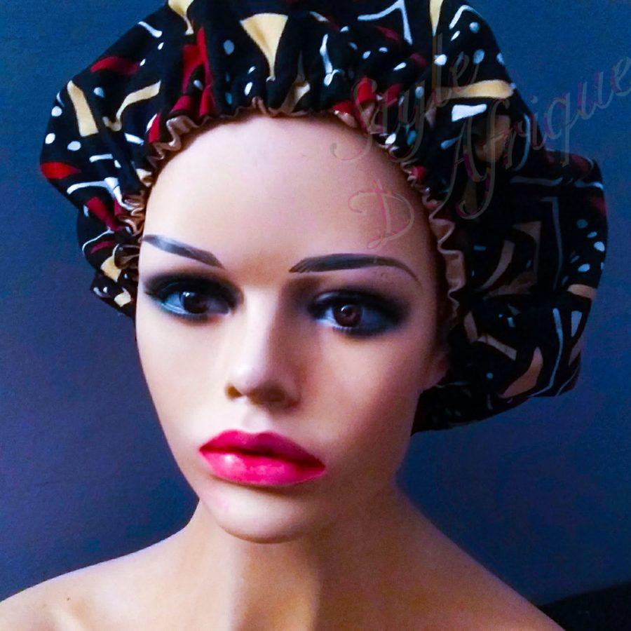 bonnet satin nuit cape de bain chapeau douche cheveux BOGOLAN africain ethnique femme