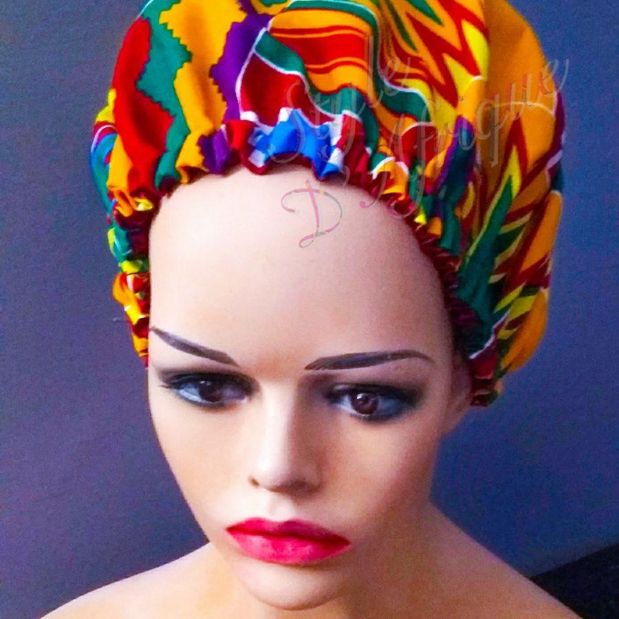bonnet satin nuit kente africain ethnique femme