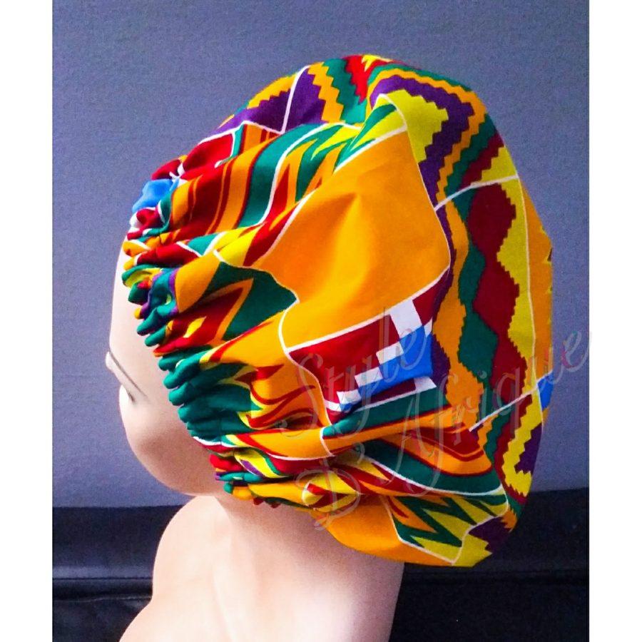 cape de bain chapeau douche cheveux KENTE africain ethnique femme