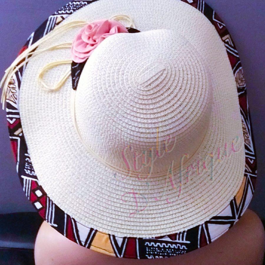 capeline chapeau paille bogolan africain ethnique femme