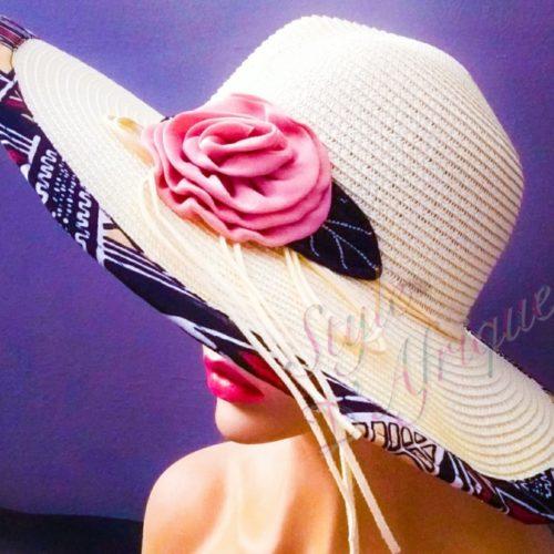 capeline chapeau paille bogolan africain ethnique femme. capeline chapeau paille KENTE africain ethnique. capeline chapeau paille wax tissu africain ankara. Chapeau capeline avec imprimé ethnique femme multicolore wax