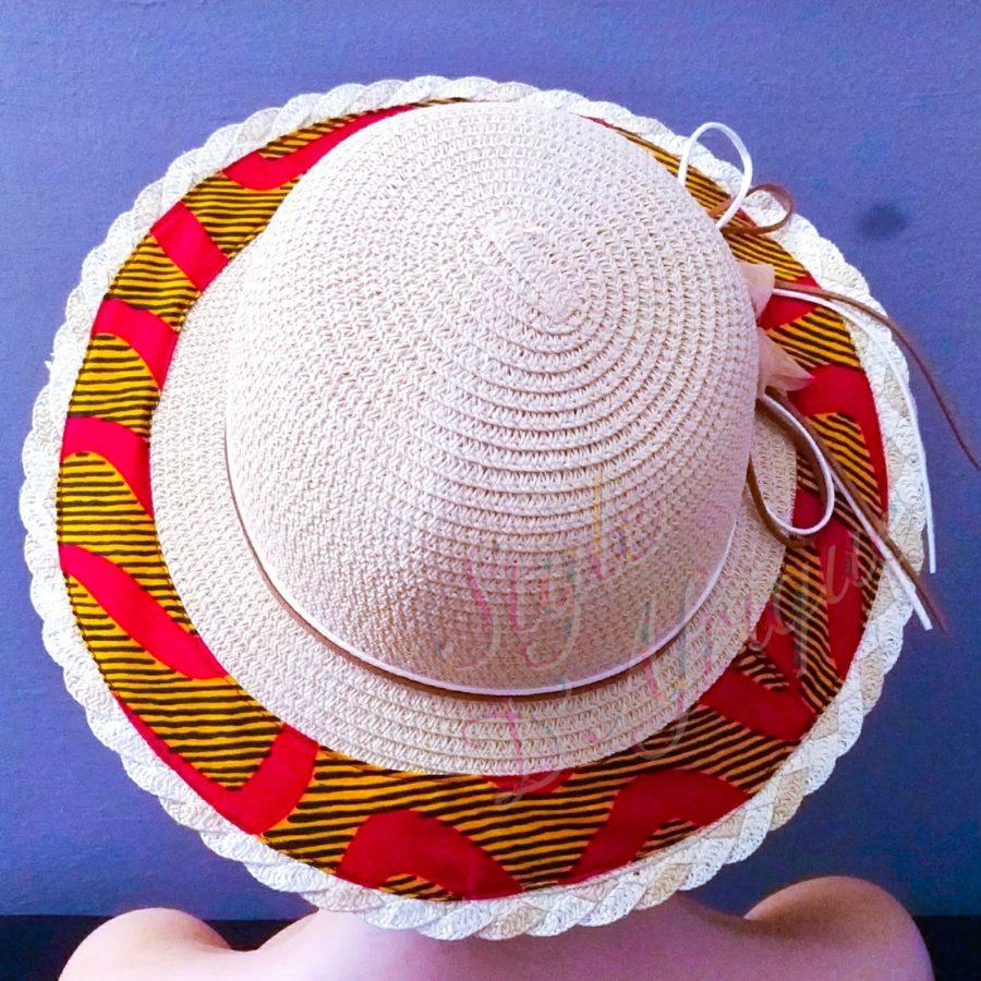 capeline chapeau paille wax africain ethnique enfant. capeline chapeau paille bogolan africain ethnique femme. capeline chapeau paille KENTE africain ethnique. capeline chapeau paille wax tissu africain ankara. Chapeau capeline avec imprimé ethnique femme multicolore wax