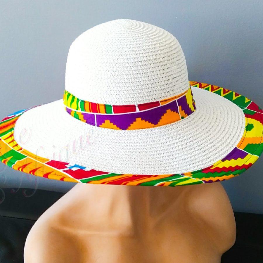 capeline kente capeline chapeau paille KENTE africain ethnique