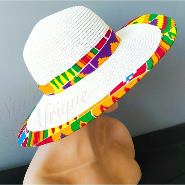capeline chapeau paille KENTE africain ethnique. capeline chapeau paille wax tissu africain ankara. Chapeau capeline avec imprimé ethnique femme multicolore wax