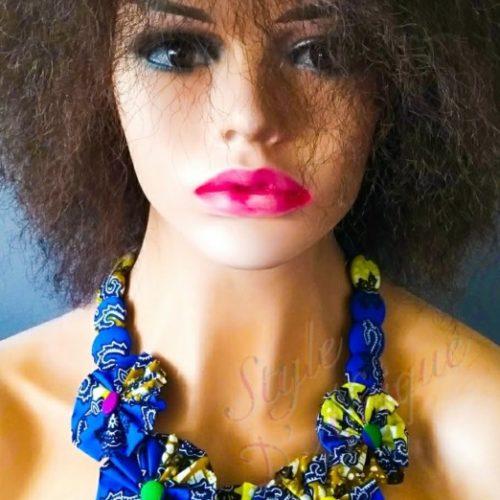 collier wax ras de cou fleurs wax africain