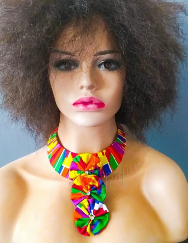 collier KENTE ras de cou fleurs wax africain