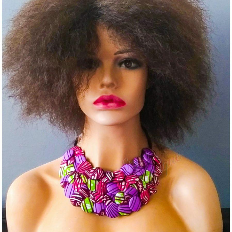 collier ras de cou bouton wax africain