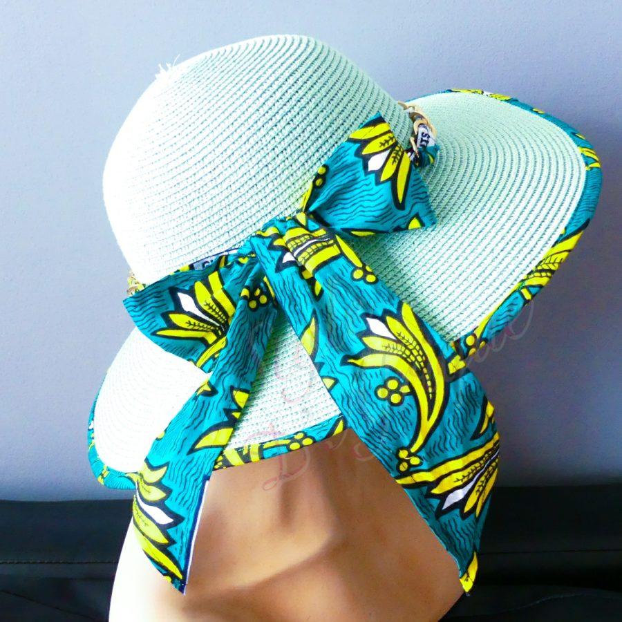 capeline chapeau paille wax tissu africain ankara. Chapeau capeline avec imprimé ethnique femme multicolore wax