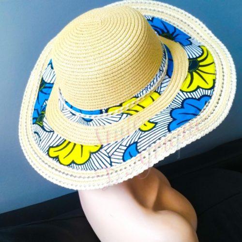 Chapeau capeline avec imprimé ethnique femme multicolore wax