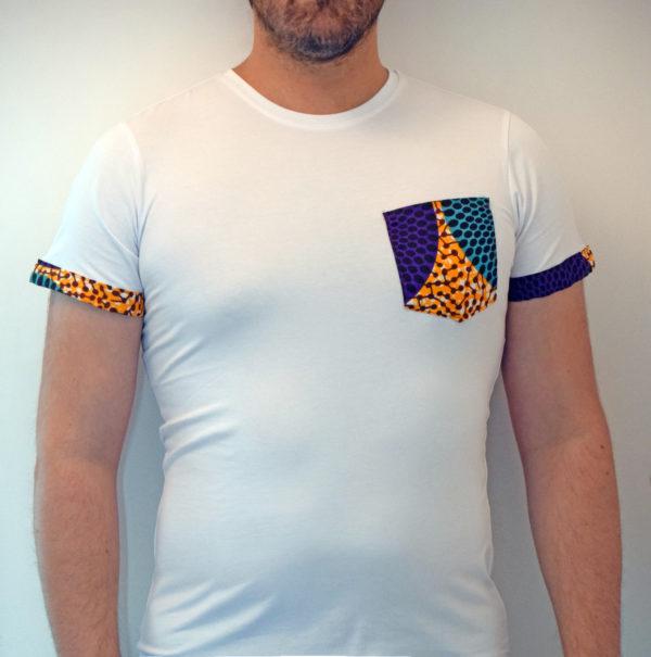 T-shirt à poche motifs wax africain homme femme