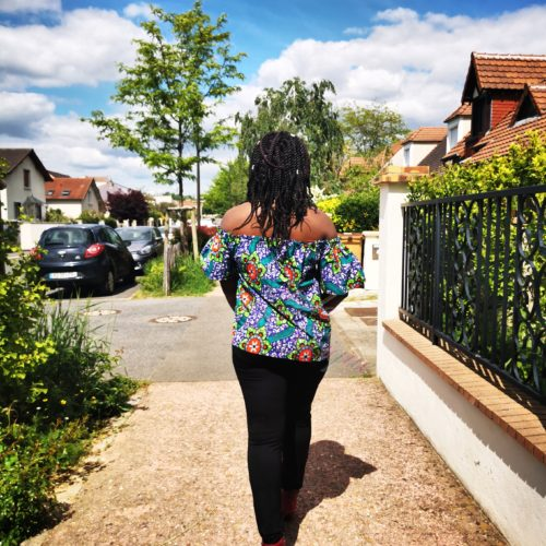 Top épaules dénudées feuillage haut vêtement femme wax africain tissu ankara