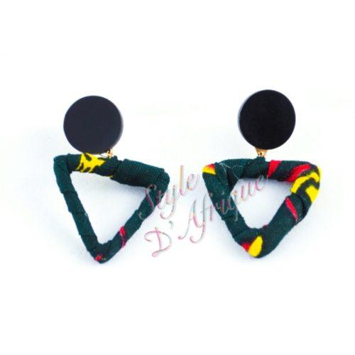 boucles d'oreilles triangle wax africain ankara