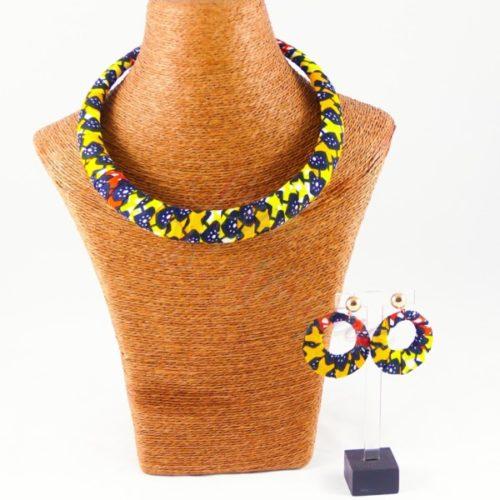 ensemble collier ras de cou et boucles d'oreilles wax africain ankara
