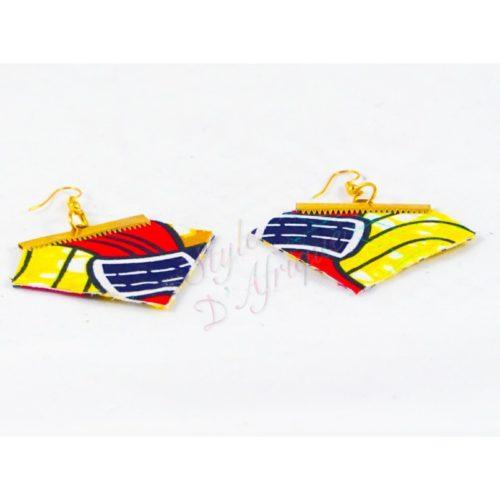 boucles d'oreilles Binta en losange wax africain ankara