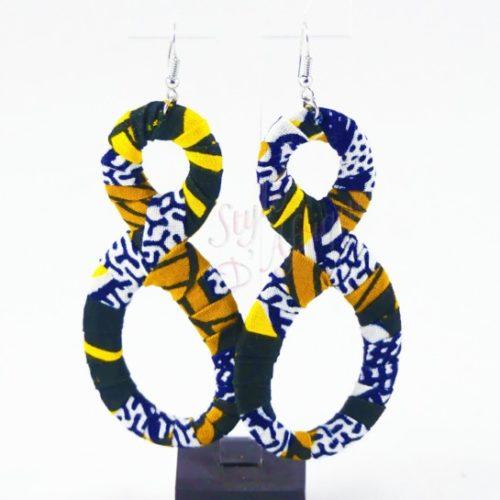 boucles d'oreilles en huit wax africain ankara
