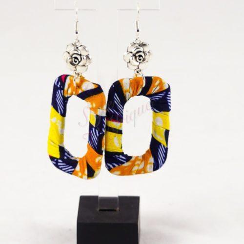 Boucles d'oreilles Casiope pendante wax africain ankara