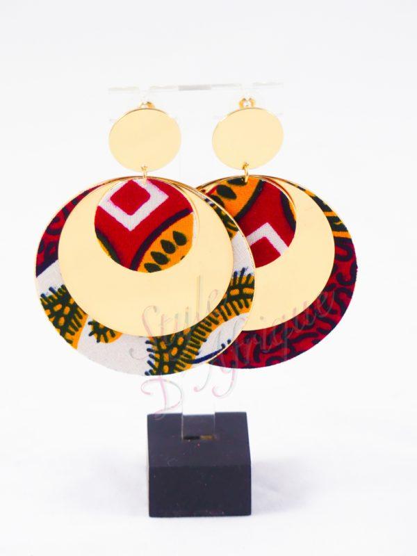 boucles d'oreille en wax, Boucles d'oreilles tissu africain