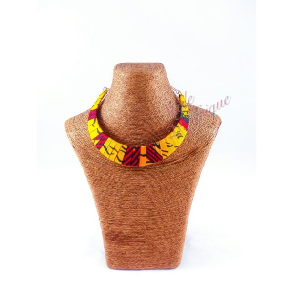 Collier wax africain rouge