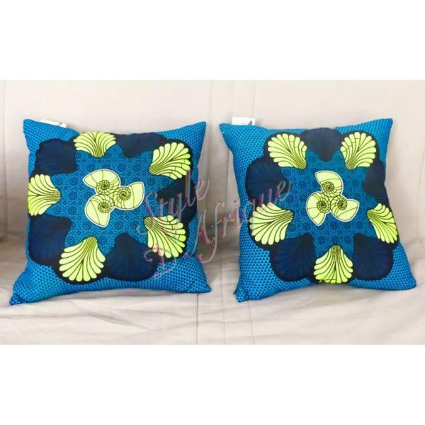coussin de décoration wax pour la maison. Tissu ethnique, tissu bohème, décoration zen, housse de coussins.