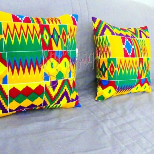 coussin kente coussin de décoration wax pour la maison. Tissu ethnique, tissu bohème, décoration zen, housse de coussins.