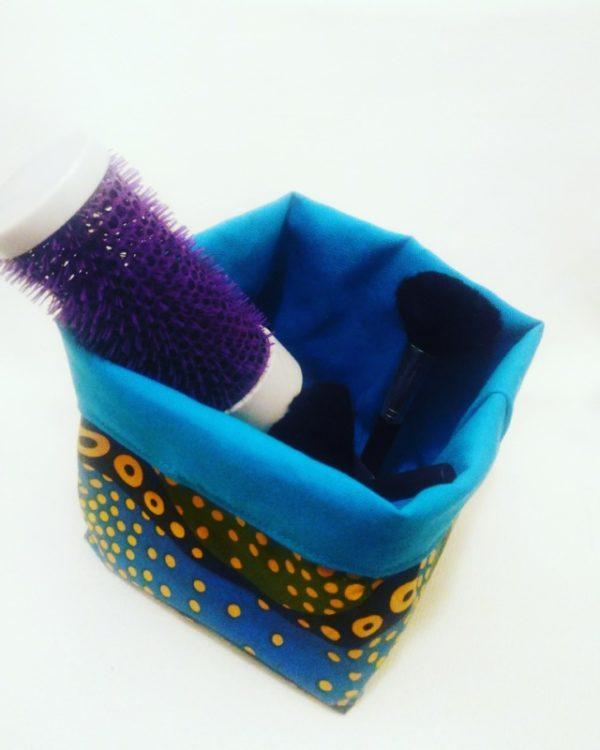 panier de rangement vide poches africain en tissu wax ethnique coloré