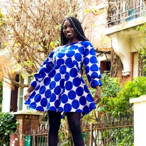 robe courte été wax africain bohème chic femme asymétrique