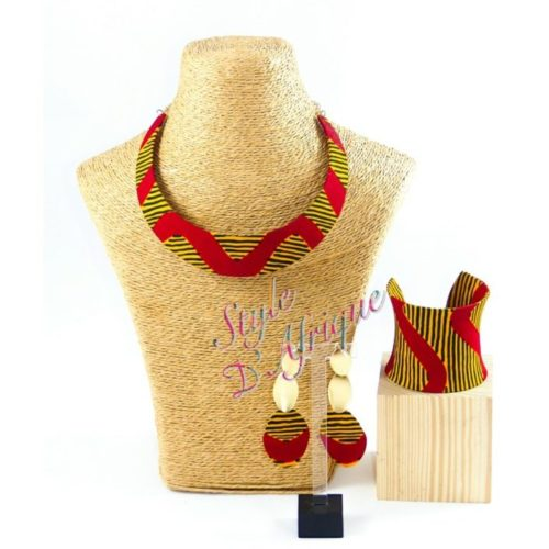 collier ras de cou wax africain ethnique